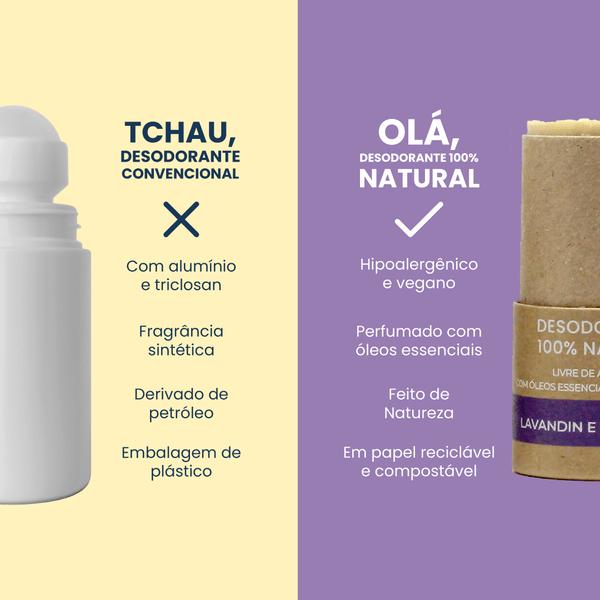 Comparativo entre um desodorante convencional e o Desodorante Natural Positiv.a.