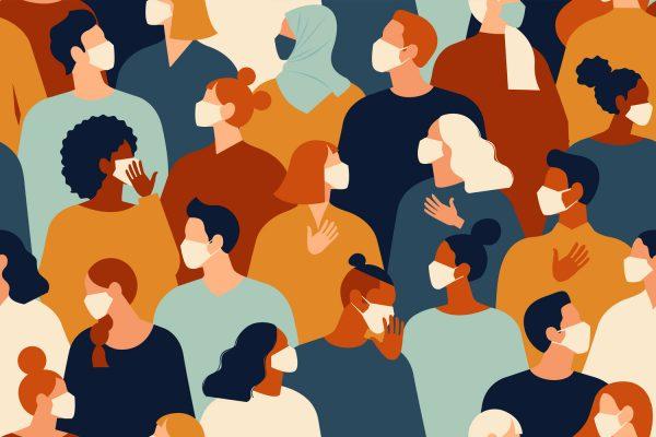 Setembro Amarelo - ilustração, várias pessoas usando máscara